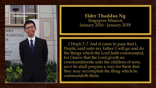 January 2016 to January 2018<br/>Elder Thaddus Ng