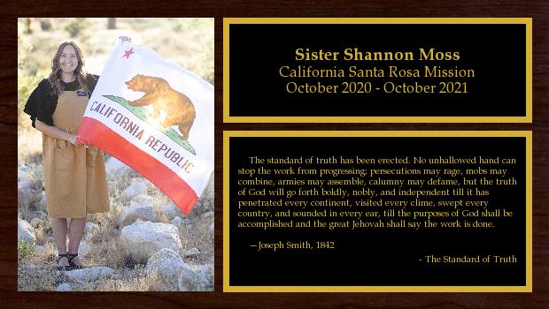 October 2020 to October 2021<br/>Sister Shannon Moss
