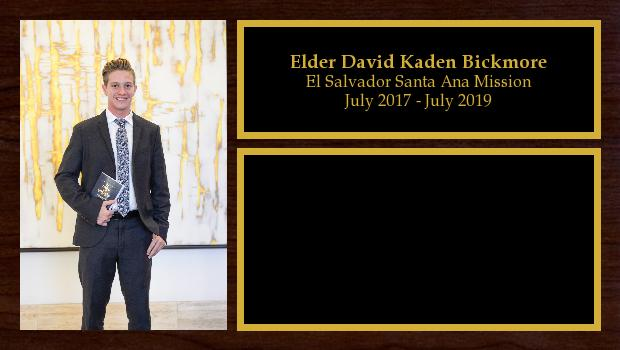 July 2017 to July 2019<br/>Elder David Kaden Bickmore