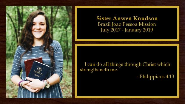 July 2017 to January 2019<br/>Sister Anwen Knudson