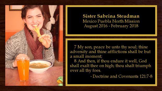 August 2016 to February 2018<br/>Sister Sabrina Steadman