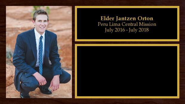 July 2016 to July 2018<br/>Elder Jantzen Orton