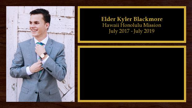 July 2017 to July 2019<br/>Elder Kyler Blackmore