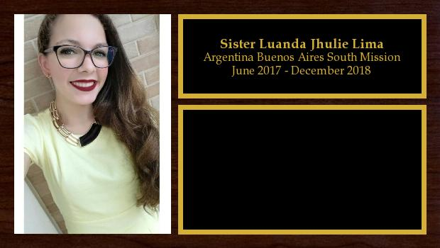 June 2017 to December 2018<br/>Sister Luanda Jhulie Lima