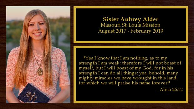 August 2017 to February 2019<br/>Sister Aubrey Alder