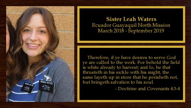 March 2018 to September 2019<br/>Sister Laura Waters