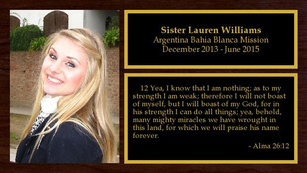 December 2013 to June 2015<br/>Sister Lauren Williams
