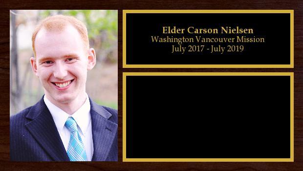 July 2017 to July 2019<br/>Elder Carson Nielsen