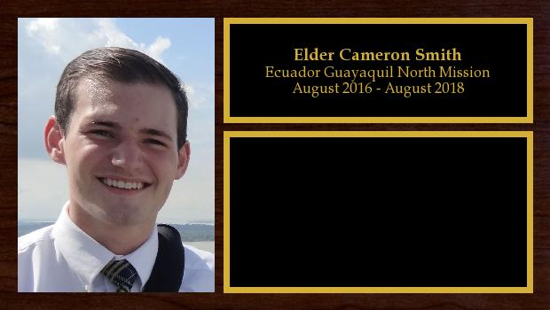 August 2016 to August 2018<br/>Elder Cameron Smith