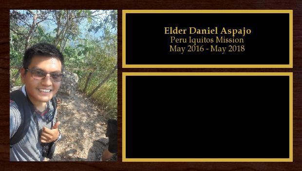 May 2016 to May 2018<br/>Elder Daniel Aspajo