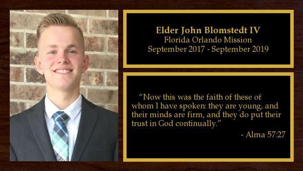 September 2017 to September 2019<br/>Elder John Blomstedt IV