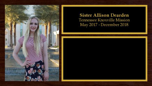 May 2017 to December 2018<br/>Sister Allison Dearden