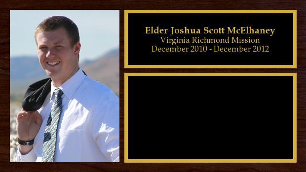 December 2010 to December 2012<br/>Elder Joshua Scott McElhaney