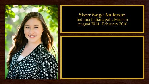 August 2014 to February 2016<br/>Sister Saige Anderson