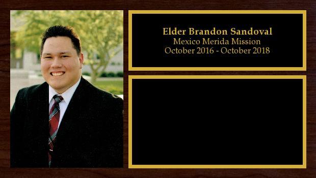 October 2016 to October 2018<br/>Elder Brandon Sandoval