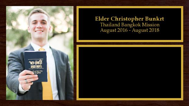 August 2016 to August 2018<br/>Elder Christopher Bunker