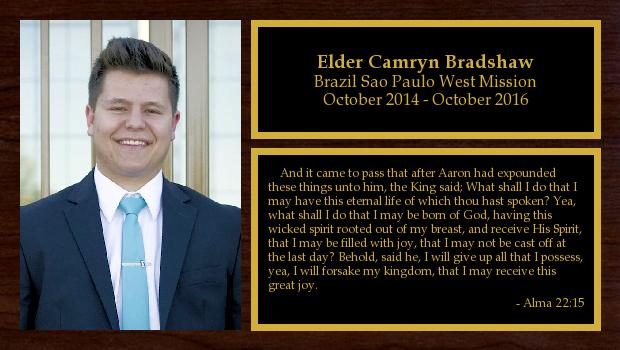 October 2014 to October 2016<br/>Elder Camryn Bradshaw