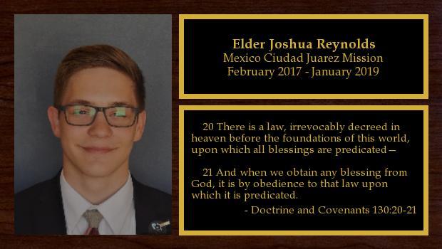 February 2017 to January 2019<br/>Elder Joshua Reynolds