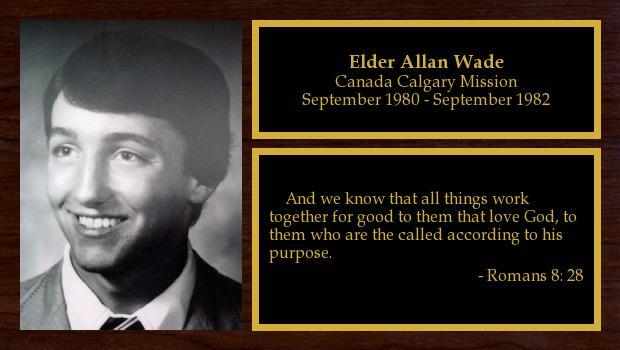 September 1980 to September 1982<br/>Elder Allan Wade