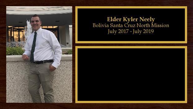 July 2017 to July 2019<br/>Elder Kyler Neely