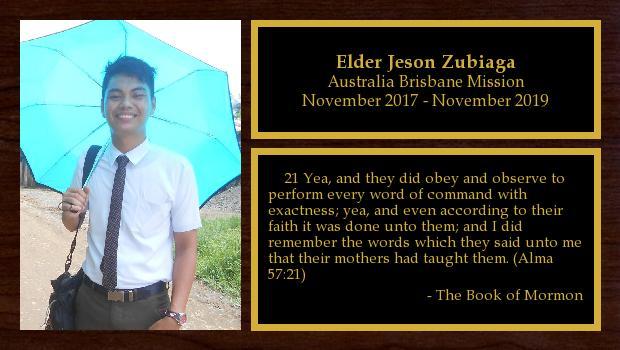 November 2017 to November 2019<br/>Elder Jeson Zubiaga