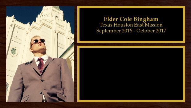September 2015 to October 2017<br/>Elder Cole Bingham