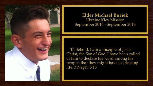 September 2016 to September 2018<br/>Elder Michael Buriek