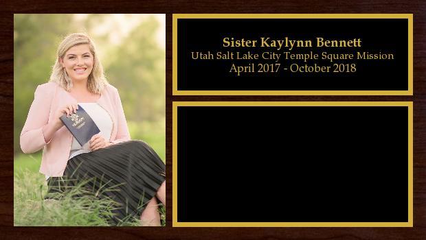 April 2017 to October 2018<br/>Sister Kaylynn Bennett