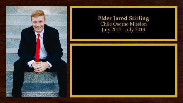 July 2017 to July 2019<br/>Elder Jarod Stirling