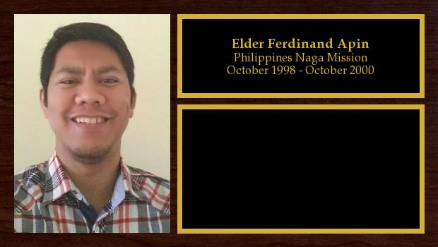 October 1998 to October 2000<br/>Elder Ferdinand Apin