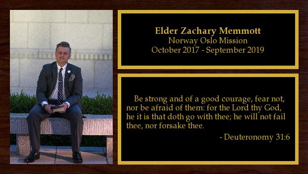 October 2017 to September 2019<br/>Elder Zachary Memmott