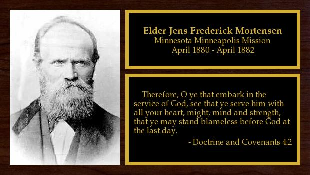 April 1880 to April 1882<br/>Elder Jens Frederick Mortensen