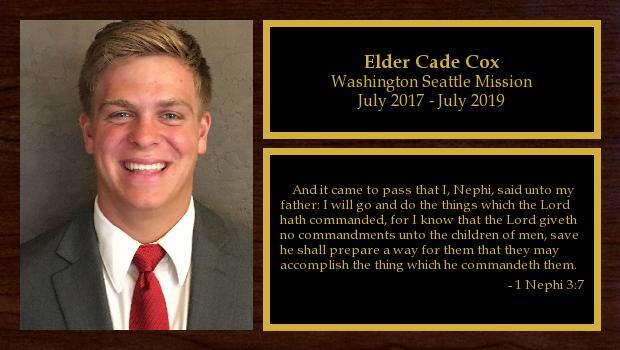 July 2017 to June 2019<br/>Elder Cade Cox