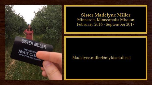 February 2016 to September 2017<br/>Sister Madelyne Miller