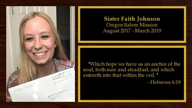 August 2017 to March 2019<br/>Sister Faith Johnson