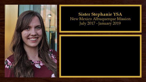 July 2017 to January 2019<br/>Sister Stephanie Sticht