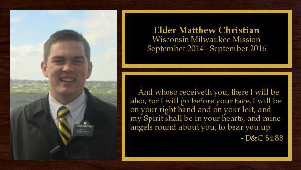 September 2014 to September 2016<br/>Elder Matthew Christian