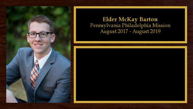August 2017 to August 2019<br/>Elder McKay Barton