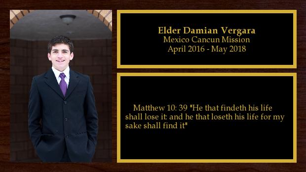 April 2016 to May 2018<br/>Elder Damian Vergara