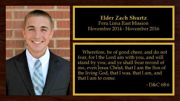 November 2014 to November 2016<br/>Elder Zach Shurtz