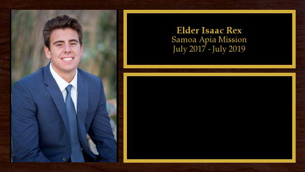 July 2017 to July 2019<br/>Elder Isaac Rex