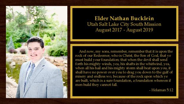 August 2017 to August 2019<br/>Elder Nathan Bucklein