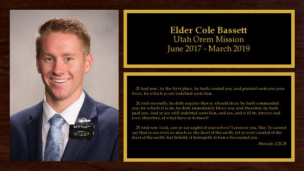 June 2017 to March 2019<br/>Elder Cole Bassett