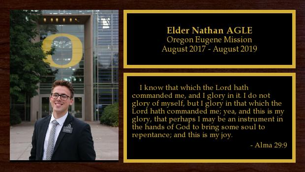 August 2017 to August 2019<br/>Elder Nathan AGLE