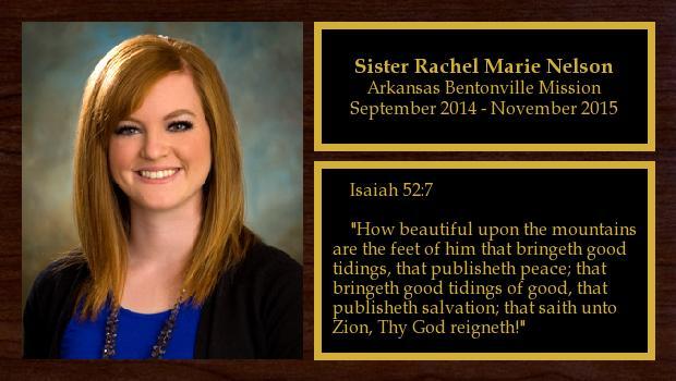 September 2014 to November 2015<br/>Sister Rachel Marie Nelson