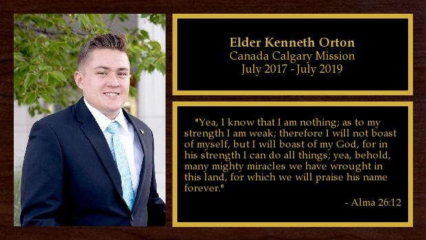July 2017 to July 2019<br/>Elder Kenneth Orton