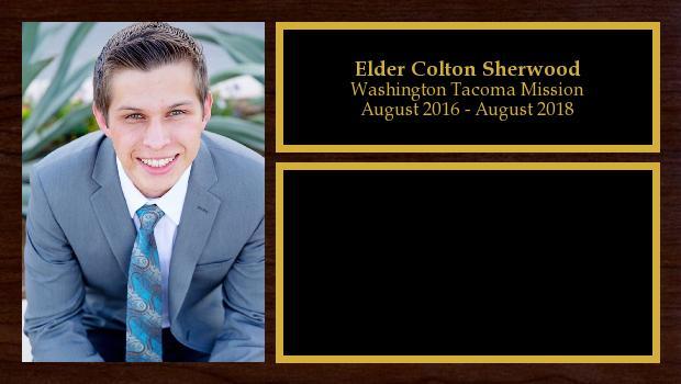 August 2016 to August 2018<br/>Elder Colton Sherwood