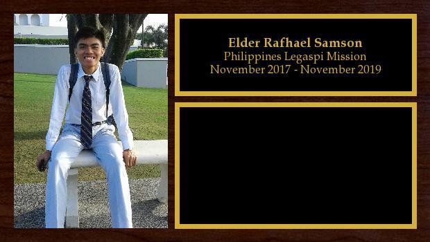 November 2017 to November 2019<br/>Elder Rafhael Samson