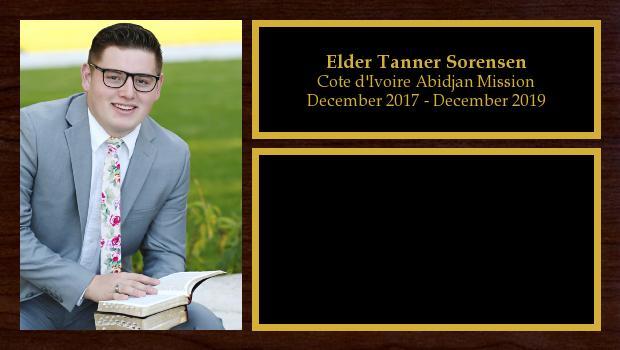 December 2017 to December 2019<br/>Elder Tanner Sorensen
