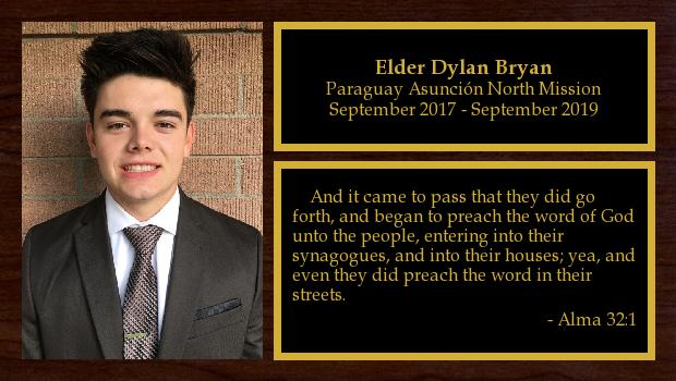 September 2017 to September 2019<br/>Elder Dylan Bryan